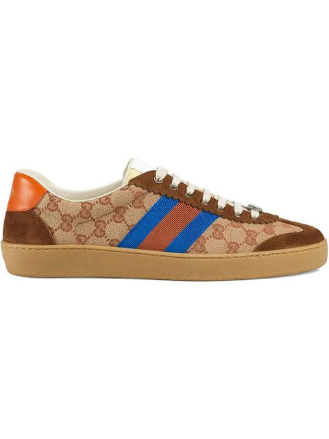 Gucci G74 Original Gg Sneakers With Web Brick Red/Beige In Brown