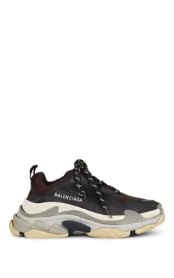Balenciaga Low-Top Sneakers Triple S  Calfskin Lambskin  Polyester Logo Black Bordeaux