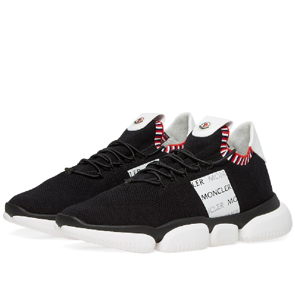 Moncler Low-Top Sneakers The Bubble  Nylon Logo Print Black