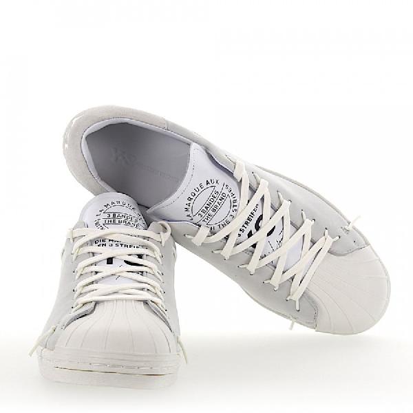 Y-3 Low-Top Sneakers Calfskin Gum Suede Logo Print Light Grey White