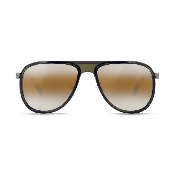 Vuarnet Unisex Sunglasses Aviator Glacier Steel Matte Grey Acetate Brown