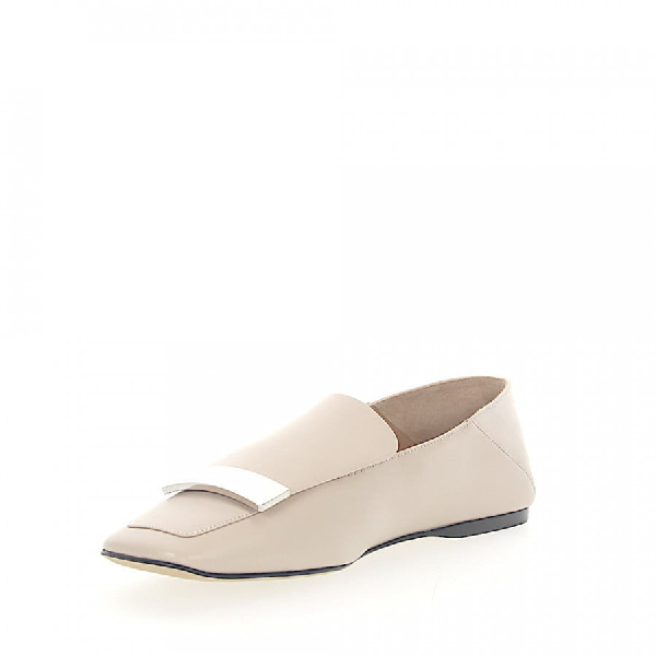 Sergio Rossi Slipper A77990 Nappa Leather Silver Plated In White