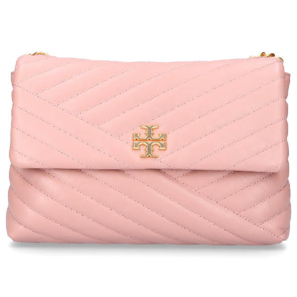 Tory Burch Women Handbag Kira Shoulder Bag Leather Logo Embroidery Pink