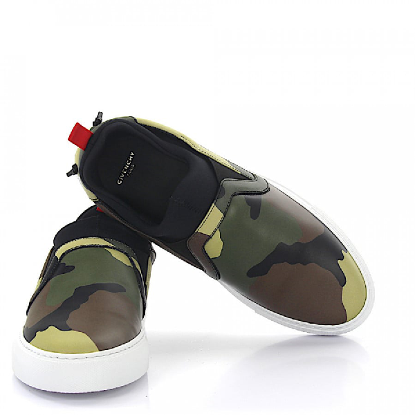 Givenchy Sneakers Slip On Leather Camouflage In Green