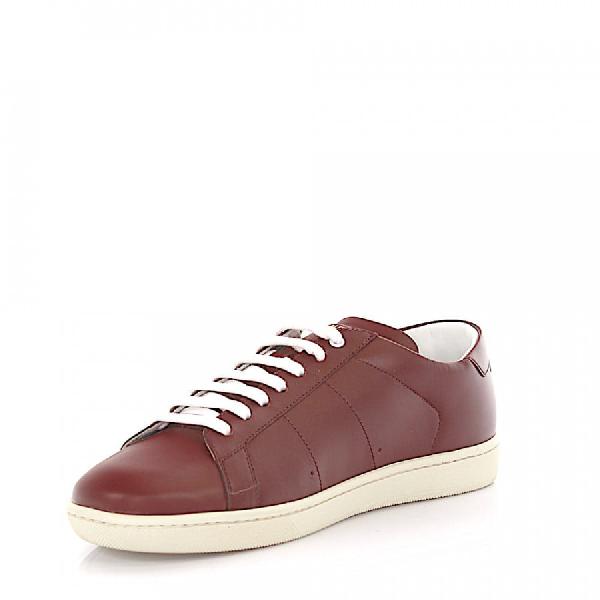Saint Laurent Low-Top Sneakers Calfskin Bordeaux In Red