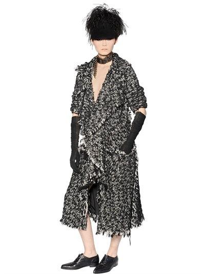 Lanvin Wool & Cotton Blend Tweed Coat In Black/White