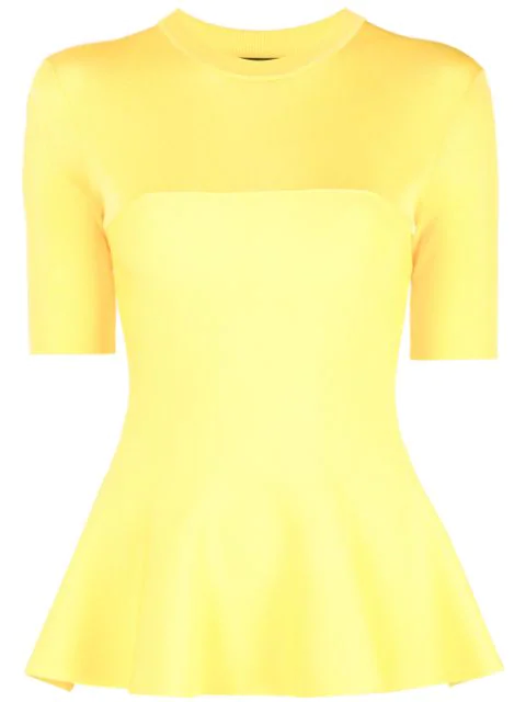 Proenza Schouler Matte Knit Peplum Top In Yellow