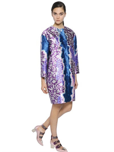 Peter Pilotto Oversized Printed Silk Twill Coat In Blue/Purple