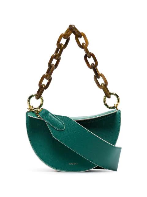Yuzefi Doris Leather Shoulder Bag - Green