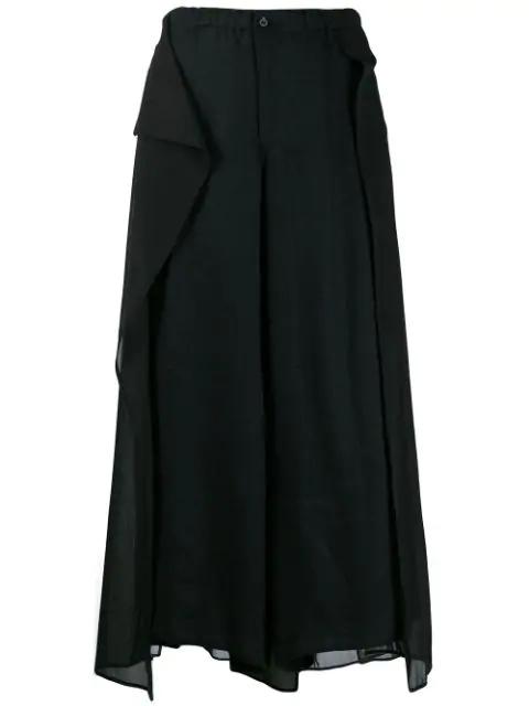 Yohji Yamamoto Layered Cropped Trousers - Black