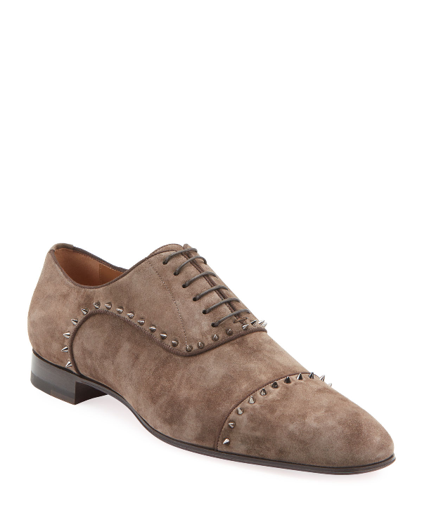 Christian Louboutin Men's Eton Spiked Suede Oxford Shoes In Gray
