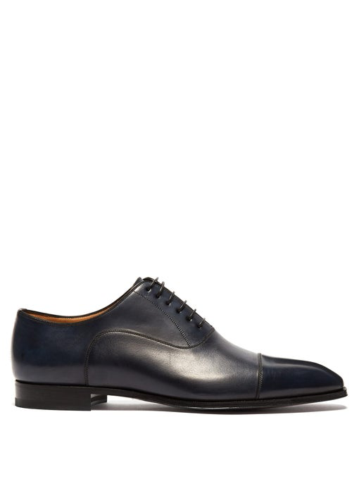 Christian Louboutin Greggo Men's Lace-Up Leather Dress Shoes In Dark Blue