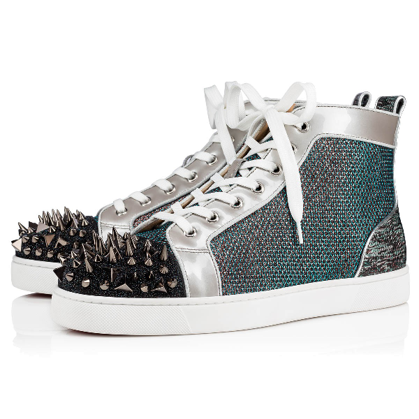 Christian Louboutin Men's Lou Pik Pik Oralto Spiked High-Top Sneakers In Version Multi