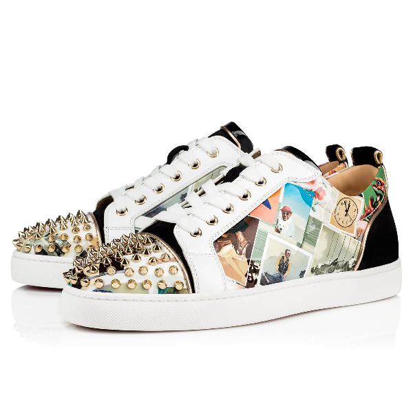 Christian Louboutin Men's Louis Junior Spikes Collage Red Sole Sneakers In Version Multi