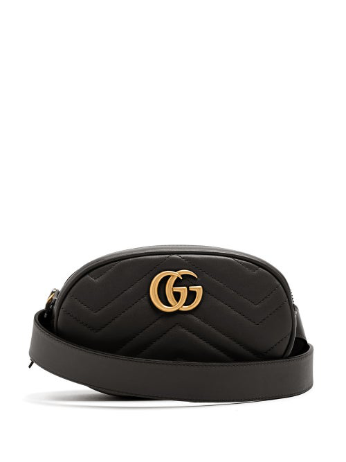 Gucci Gg Marmont 2.0 Leather Belt Bag In Black