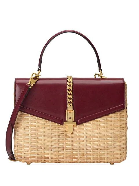 Gucci Sylvie Wicker And Leather Top-Handle Bag In Neutrals