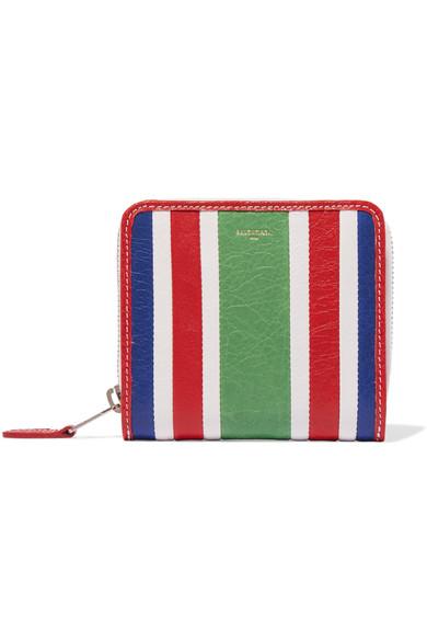 Balenciaga Striped Textured-leather Wallet In Green Stripe