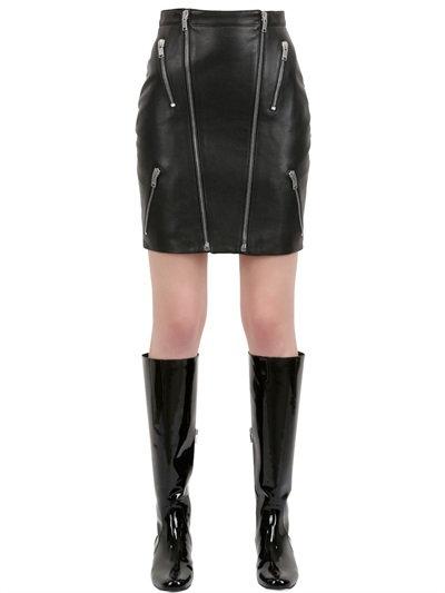 Saint Laurent Zipped Nappa Leather Mini Skirt In Black
