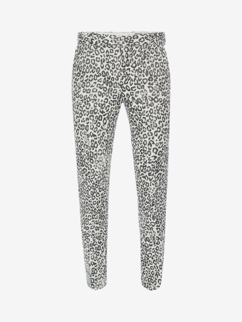 Alexander Mcqueen Leopard-print Slim-straight Pants, Black/white/gray
