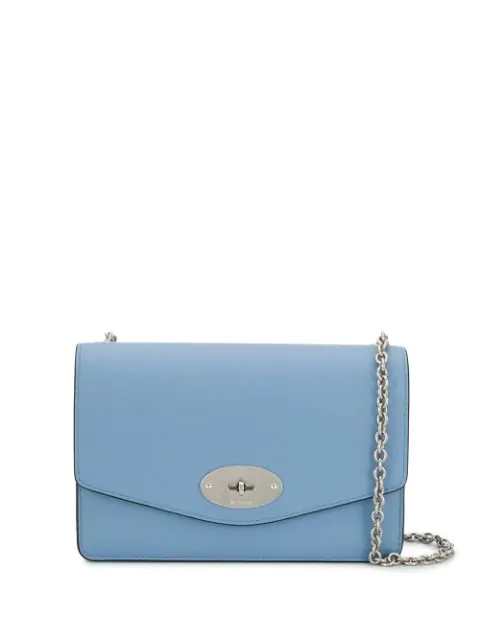 Mulberry Darley Small Leather Wallet-on-chain In Blue