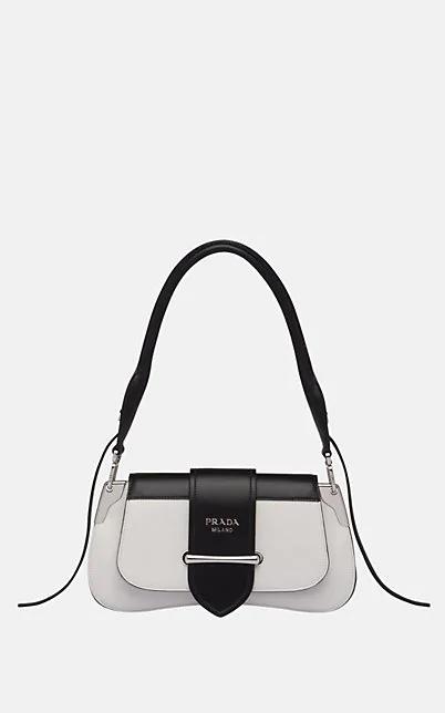 Prada Sidonie Medium Leather Shoulder Bag - Wht.&Blk.