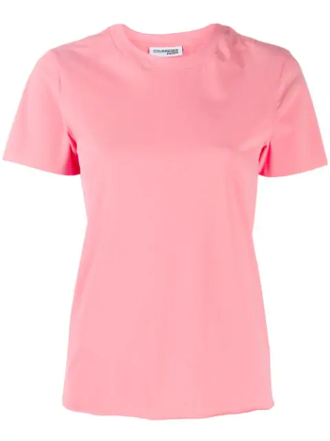 CourrÈGes Crew Neck T-Shirt In Pink