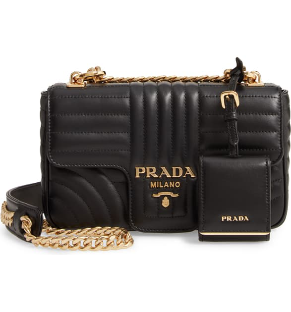 Prada Small Quilted Leather Shoulder Bag - Black In Nero