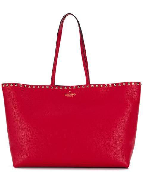 Valentino Garavani Garavani Rockstud Leather Tote In Red