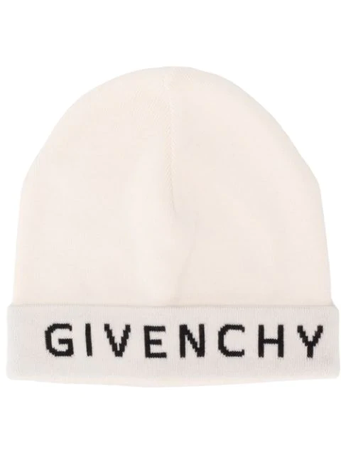 Givenchy Logo Printed Beanie In White