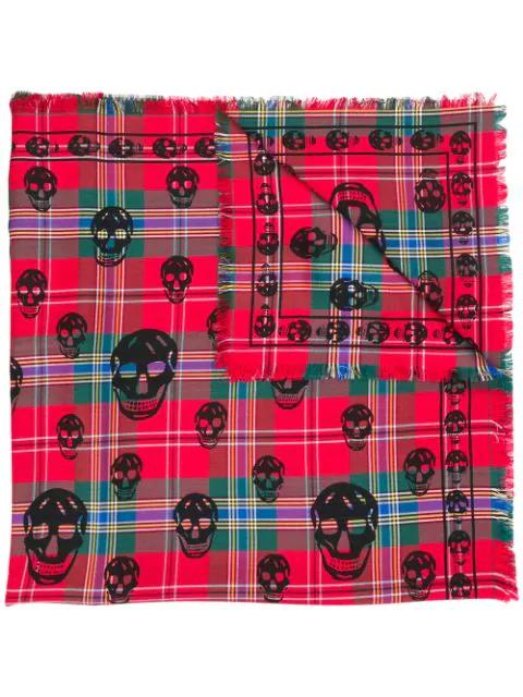 Alexander Mcqueen Skull Printed Silk & Wool Tartan Scarf In Red