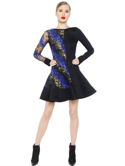Antonio Berardi Flocked Lace & Cady Dress In Black/Blue