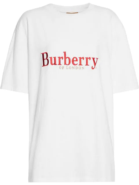 Burberry Embroidered Archive Logo Cotton T-Shirt In White