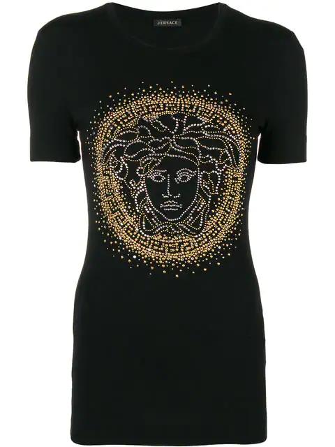 Versace Medusa Crystal-Embellished T-Shirt In Black