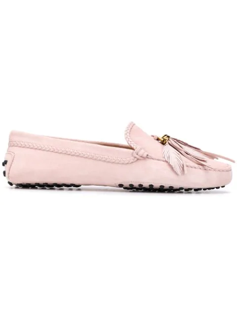 Tod's Women's Suede Loafers Moccasins Gommini In M025glove Pink
