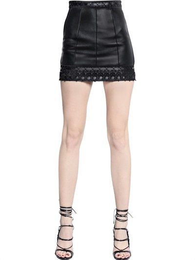 Dsquared2 Nappa Leather Mini Skirt With Trim In Black