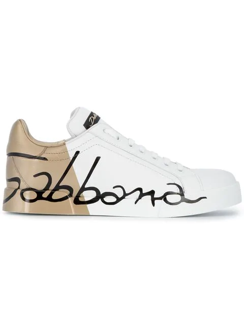 Dolce & Gabbana Dolce And Gabbana White And Gold Leather Portofino Sneakers In Hh821