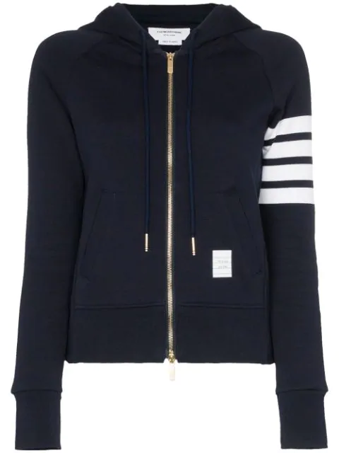 Thom Browne Intarsia Zip-up Cotton Sweatshirt Hoodie In Blue