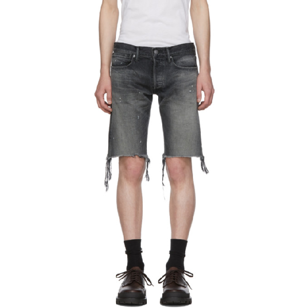 John Elliott Black Denim 'The Cast 2' Shorts In Washed Black