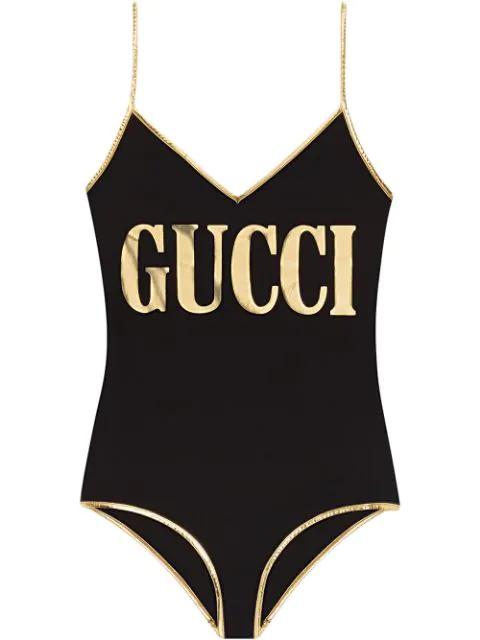 Gucci Metallic Logo One-Piece Swimsuit In Black