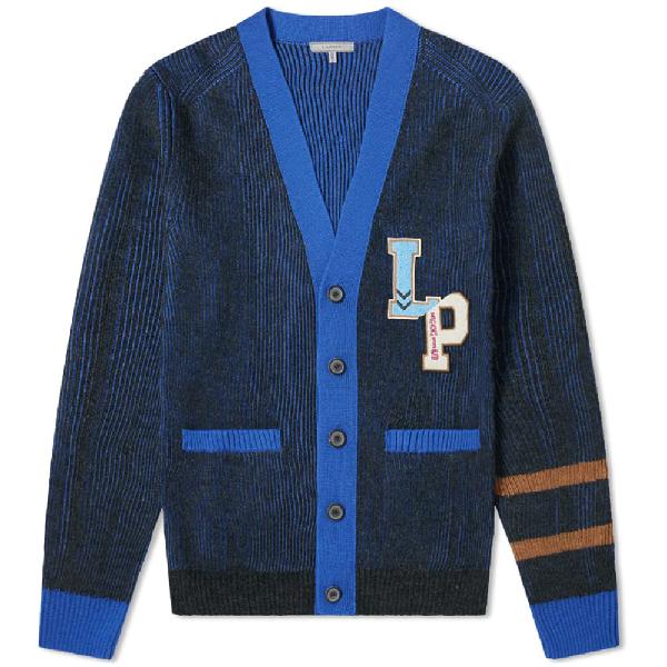 Lanvin Ribbed Logo-appliquÉd Wool Cardigan In 1820 Anthracite/bleu