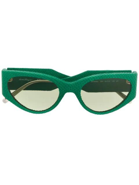 Salvatore Ferragamo Oval Frame Sunglasses In Green