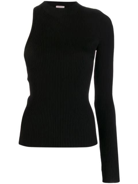 save off 6d837 85481 Mrz One-Shoulder-Pullover - Schwarz in Black