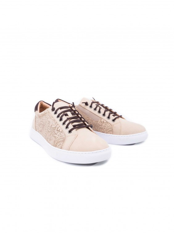 Robert Graham Men's Lima Sneaker In Beige Size: 9 By