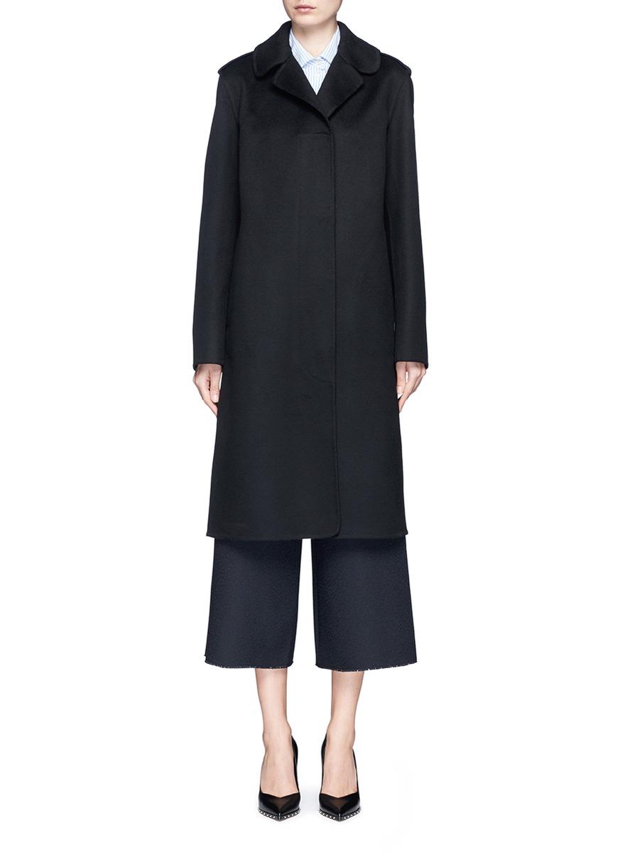 Valentino Knit Collar Trim Virgin Wool-cashmere Coat