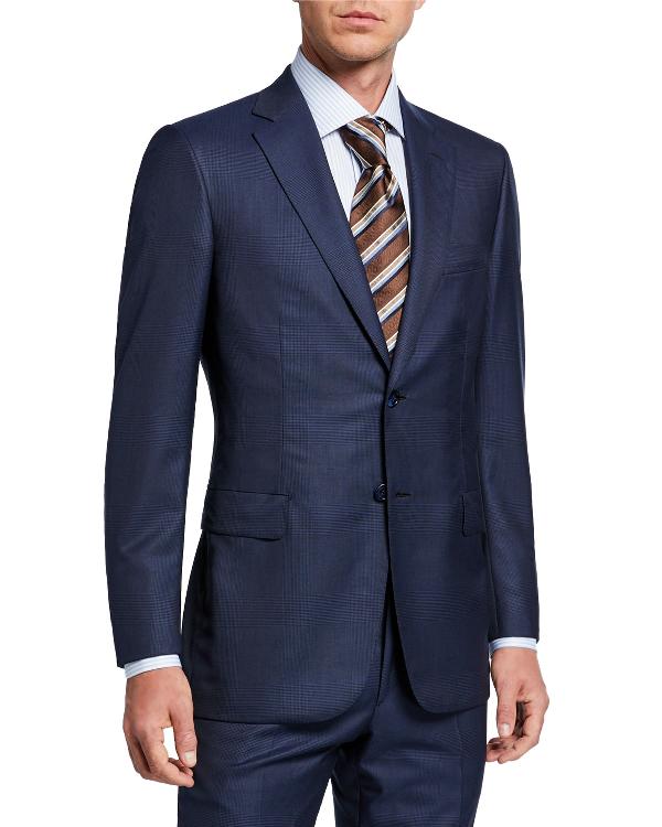 Brioni Men's Tonal Plaid Two-Piece Suit In Blue