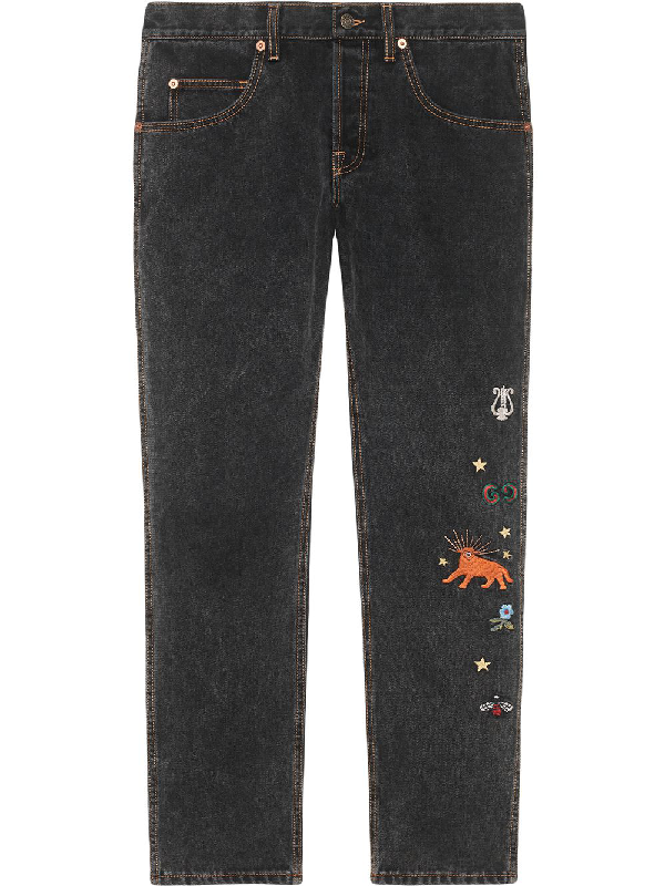 Gucci Men's Embroidered Washed Denim Jeans In Black