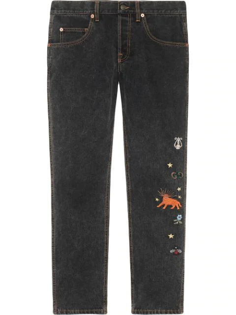 Gucci Embroidered Motif Slim-fit Jeans In Black