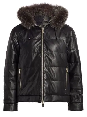 Brunello Cucinelli Reversible Quilted Leather Jacket With Fur Hood In Black