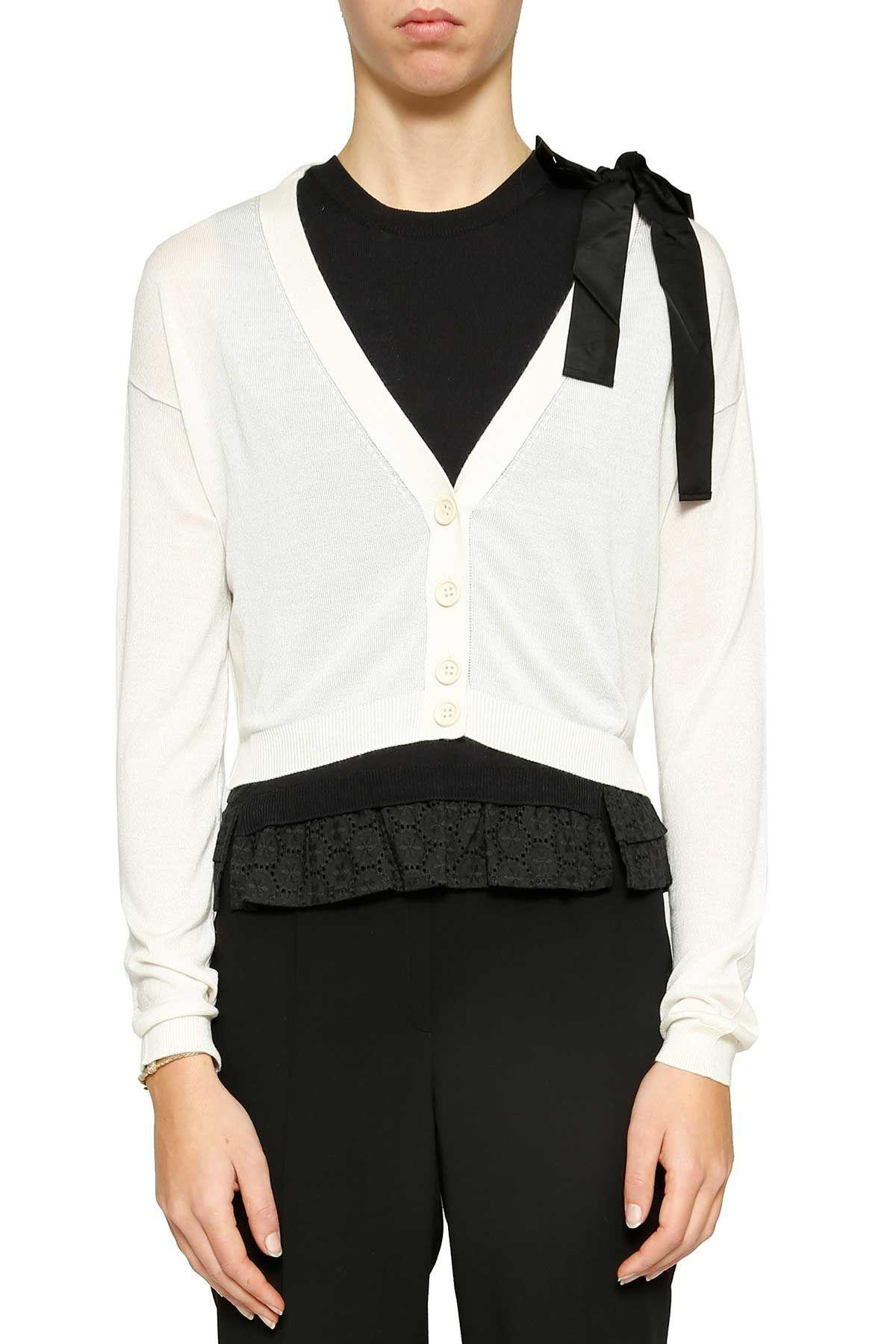 Red Valentino Cropped Cardigan In Avorio