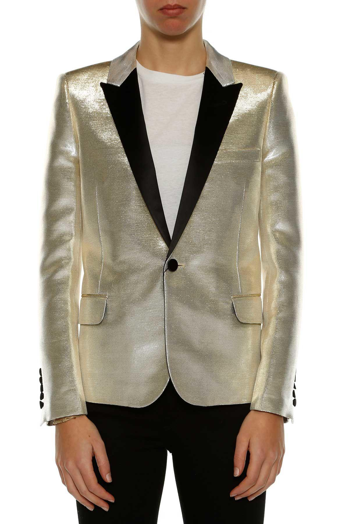 Saint Laurent Cotton Blend Blazer With Lurex In Metal
